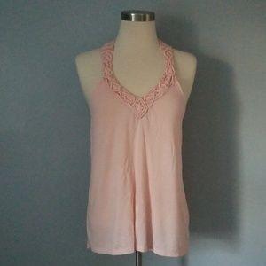 Blush pink crochet tank